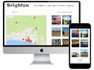 Awesome Brighton website displayed on iMac and mobile screen