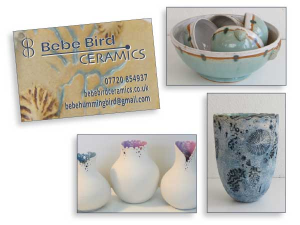 Bebe Bird Ceramics business card design with 3 separate reverse options