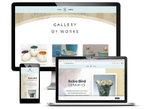Bebe Bird Ceramics website displayed on a range of device screens