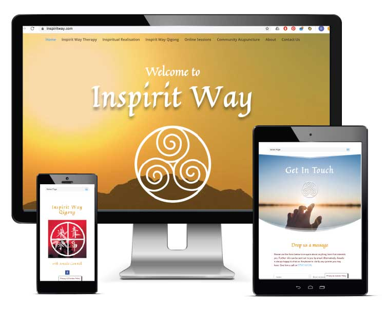 Inspirit Way website displayed on a range of device screens