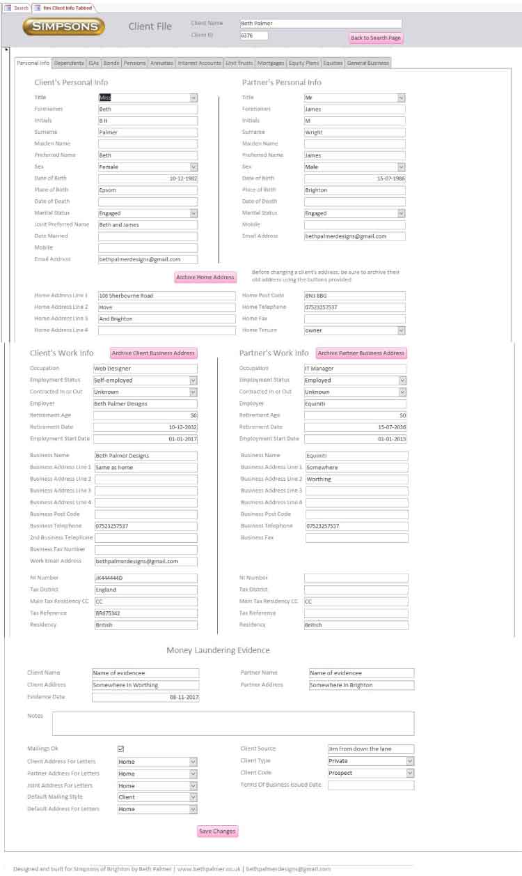Image of client info form in Simpsons of Brighton database