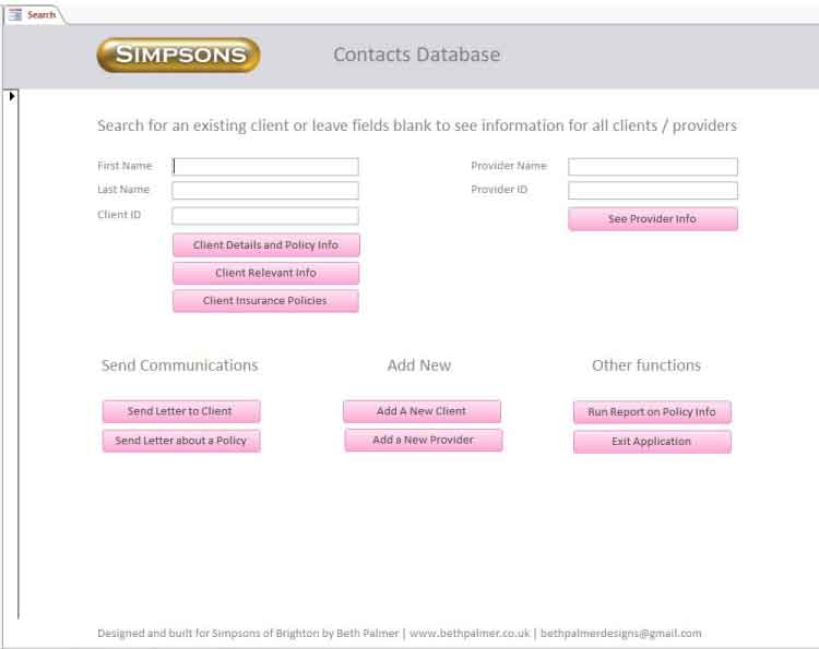 Image of the search form in Simpsons of Brighton database