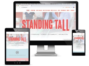 Standing Tall physio classes website displayed on a range of device screens